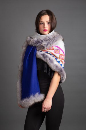 REVERSIBLE ROYAL BLUE/GREY HAND PRINT AZTEC DESIGN