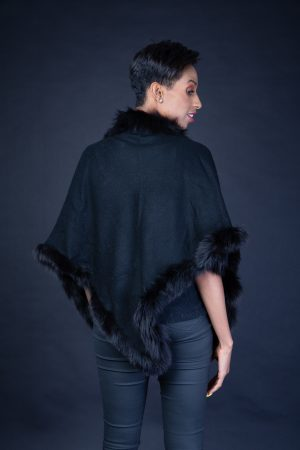 CASHMERE PARIS SHRUG 4PLY BLACK WITH FOX FUR