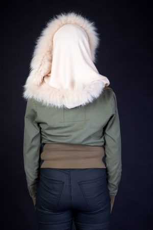 White Snood Cashmere with Fox Fur