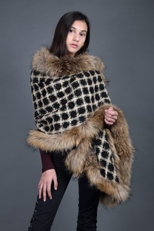 Black/Beige Square Net with Swarovski Raccoon Fur