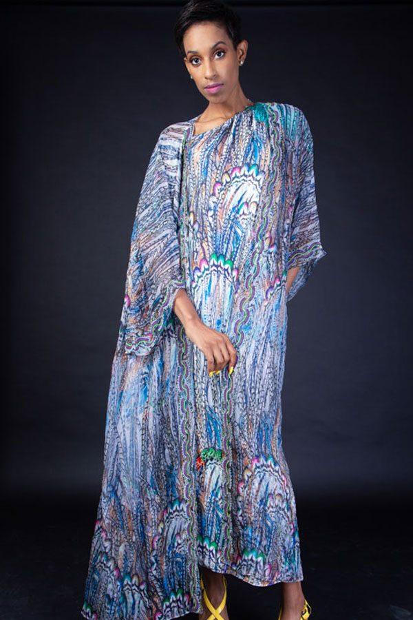 BLUE PRINT DRESS WITH BEAD WORK ON DRESS