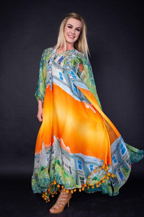 ORANGE/BLUE PRINT DRESS