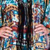 AZTEC BLUE/BEIGE/BURGUNDY DRESS
