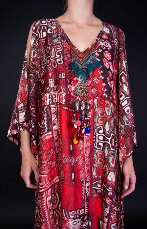 AZTEC RED/BLACK DRESS